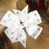 Pair of Crystal White Hair Bows