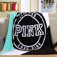 PINK Print Comfortable Soft Fleece Warm Blanket Sofa Cover