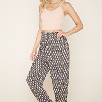 Smocked Diamond Print Pants