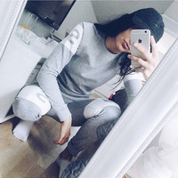 Hot Sale Winter Women's Fashion Alphabet Print Hoodies Sports Sportswear Set [9631632527]