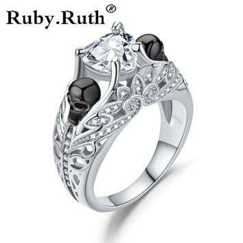 Heart Luxury Silver Color Cubic Zircon Wedding Ring For Women Female Skull Flower Punk  Party Ring Jewelry