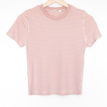 Striped Crop Ringer Tee - Dusty Mauve