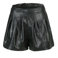 Black Shorts with Pleat Detail