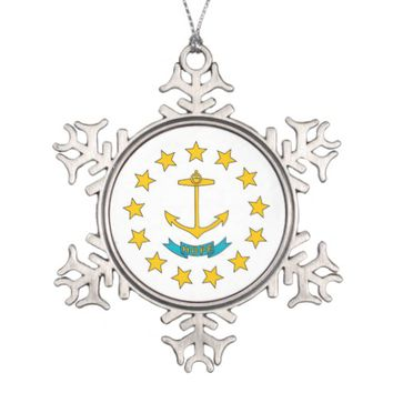 Snowflake Ornament with Rhode Island Flag