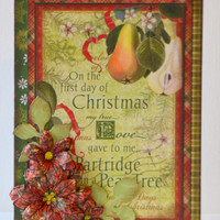 Twelve Days of Christmas Handmade One of a Kind Vintage Themed Christmas Greeting Card Paper Craft, Blank Seasonal Holiday Note Card
