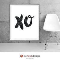 Printable Art XO Minimalist art print Typographic Printable quote fun printable sexy art prints sexy printable fun art print hello art print