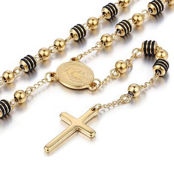 Rosary Streetwear Cross Beaded Necklace