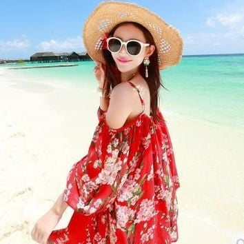 Summer Print Chiffon Strapless Spaghetti Strap Dolls Dress Bohemia Skirt Sea Maxi Dress [6269586438]