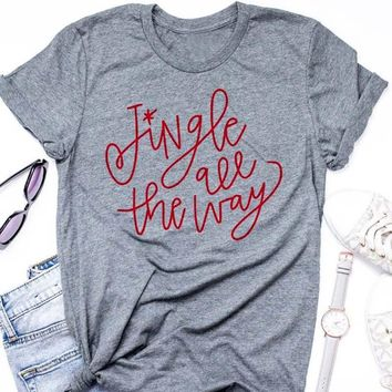 Jingle all the way t-shirt Jingle Bells Tee Adult Christmas Shirt Lettered Christmas holiday gift celebrate slogan women art top