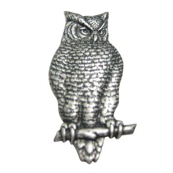Silver Toned Large Textured Owl Magnet
