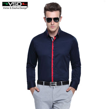 2017 Fashion Double Collar Casual Shirts Slim Fit Long Sleeve Premium Cotton Brand Shirting High Quality Men's Shirt Euro Size