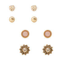 FOREVER 21 Rhinestone Stud Set Gold/Clear One