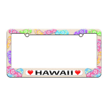 Hawaii Love with Hearts - License Plate Tag Frame - Flip Flops Sandals Design