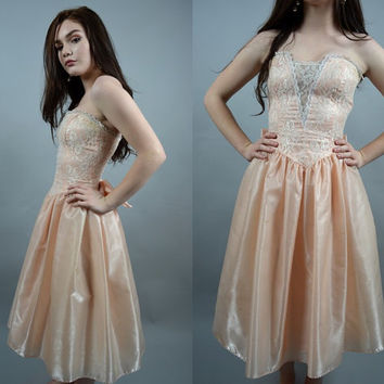 Peach Party | XS - Small | 1980 GUNNE SAX Lace Satin Strapless Party Dress 80s Full Skirt Prom Dress