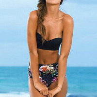 Strapless High Waist Print Bikini Set Swimsuit Swimwear