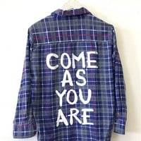 COME AS YOU ARE Vintage Flannel Shirt COOL COLORS (One of a Kind)
