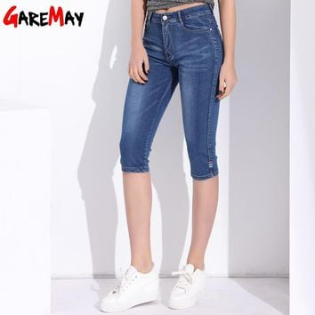 Capris Female Denim High Waist Breeches Women's Summer Jeans  Stretch  Skinny Slim Cropped Jeans For Women Large Size