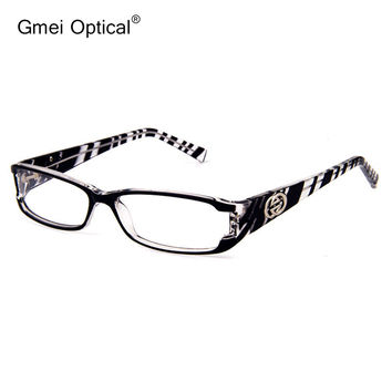 New Stylish High Quality Plastic Rectangle Full Rim Women Optical Eyeglasses Frame with Sparkling Crystals At The Front Corner