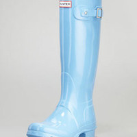 HUNTER ORIGINAL GLOSS TALL CORNFLOWER WELLINGTON BOOTS Welly BLUE