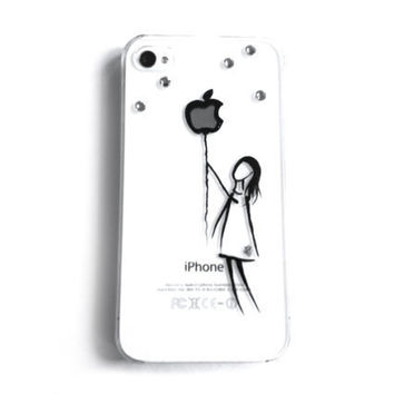 iphone case Swarovski crystals hand painted iphone 4 4S illustration case - Balloon