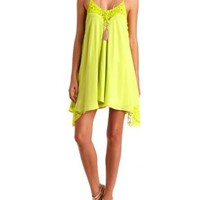 Lace-Trimmed Trapeze Shift Dress by Charlotte Russe - Neon Yellow
