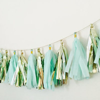 Mint Tassel Bunting, Mint Tassel Garland, Mint and Gold Décor, Tassel Bunting, Tassel Garland, Mint Garland, Mint Tassel,Mint and Gold Party