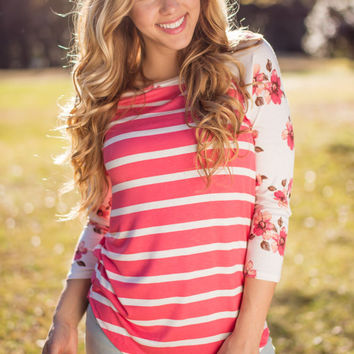 Spring in the Air Striped Floral Baseball Tee