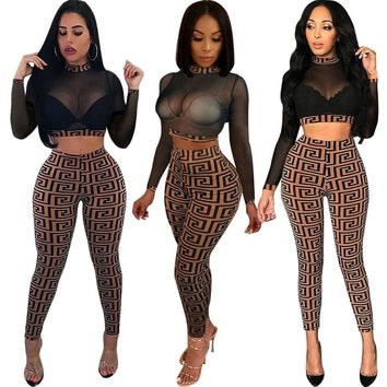 2018 Fashion Women High Street Jumpsuits Lace Print Bodysuits Lady Sexy Party Club See Through Playsuits Autumn Vestidos Rompers