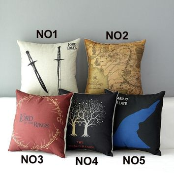 The Lord of The Rings Cotton Linen Pillow Case Vintage Hollywood Movie Cushion cover Decorations Car Office Sofa Chairs Cojines