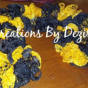 Ready to ship! Handmade crochet MIZZOU Black and Gold Ruffle Scarf