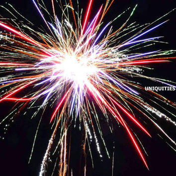 Firework Pom Pom Photograph Print, 8 x 10 inches, wall art 4th of July patriotic New Year's Eve celebrate colorful night red white blue