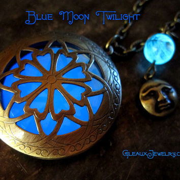 Blue Moon Twilight Glow Locket with Charm and Glowing Glass Bead