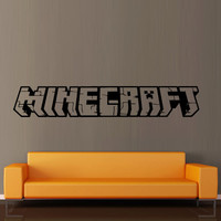 Wall decal vinyl art decor sticker design Minecraft video game sword logo word bedroom mural (m1064)