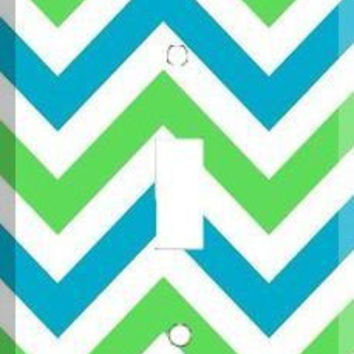 Light Switch Cover - Light Switch Plate Green Blue White Chevron