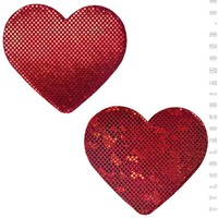 Heart Pasties in Red Hologram
