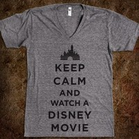 Keep Calm And Watch A Disney Movie (V Neck) - Fun Movie Shirts
