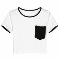 Black Chest Pocket Cropped Ringer Tee - Choies.com