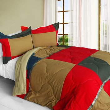 [Delicious Cake] Quilted Patchwork Down Alternative Comforter Set (Full/Queen Size)