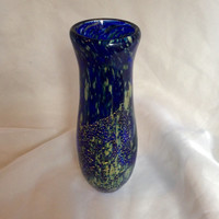 Hand Blown Glass Vase with Real Gold Leaf.  Cobalt Blue and Gold Blown Glass Vase. Art Glass Vase with Embedded 23k Gold