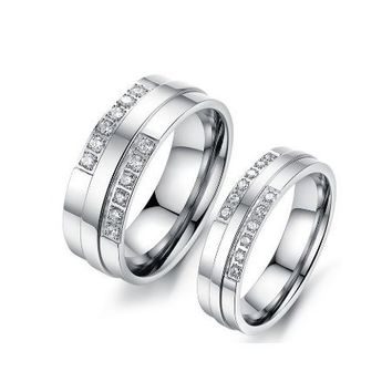 Matching SS with CZ Inlaid Stones Couples Rings - (C-RIN-1080)