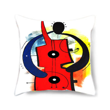 Home decor pillow cover, throw pillow, art pillow, decorative pillow for bed, red pillow, pillow cover, musical instrument, musical gift