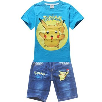 2016 children summer shorts sets baby boys all infant girl pokemon go pikachu clothes for little kids tracksuit costume clothing