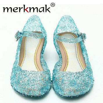 Merkmak Clearance Promotion Women Summer Sandals Shoes For Woman Bing Bling Candy Color Jelly Sandals Girl Princess Cosplay Shoe
