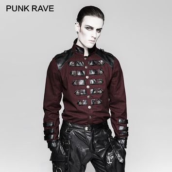 PUNK RAVE Steampunk Ilnverted Triangle Loop Military Uniform Shirts Germany Soldierly Standup Collar Men Shirt Delicate Clothing