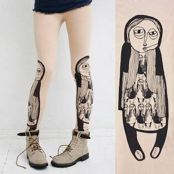 Girl in boots beige leggings by ZIBtextile on Etsy