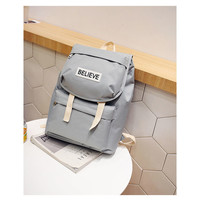 Buy OUCHA Lettering Belted Cotton Backpack | YesStyle