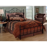 Queen size Black Metal Bed with Scrollwork Headboard and Footboard