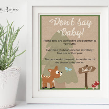Woodland Baby Shower Game. Baby Shower Decorations. DON'T SAY BABY Baby Shower game, Woodland Baby Shower. Woodland Animal Baby Shower