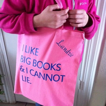 "The ""I Like Big Books"" Tote - Personalized Tote Bags - Back to School Book Bags - Etsy - Cool Book Bags for School - Design Your Own Bags"