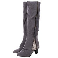 Winter Women Riding Boots High Heel Fold Over Design Near The Ankle With Lace Detailing At Side Over the Knee Boots